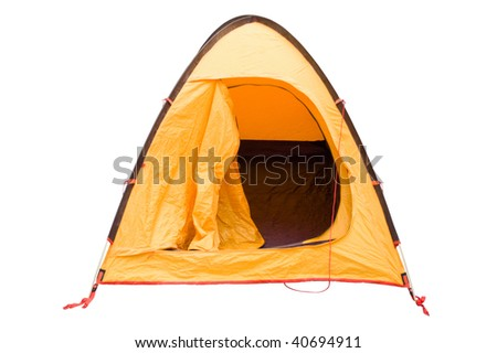 Camping tent isolated on white - stock photo