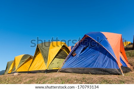 camping tent on holiday in a morning light