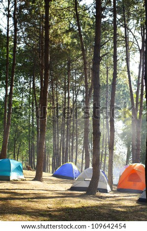 Camping tents by the river - stock photo