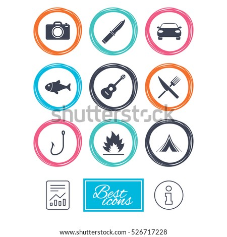 Camping travel icons. Fishing, campfire and tourist tent signs. Guitar music, fork and knife symbols. Report document, information icons.