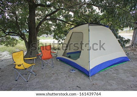 camping under the tree