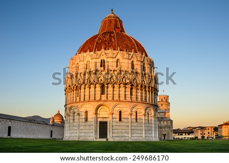 Campo dei Miracoli with Baptistery and Leaning Tower in Pisa, Tuscany, Italy. - stock photo