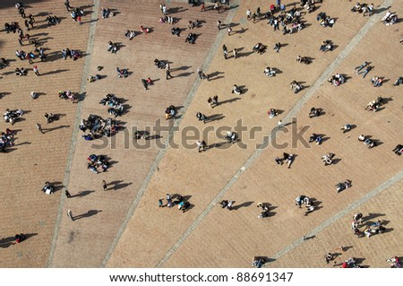 Campo square seen from bell tower, Siena, Italy - stock photo