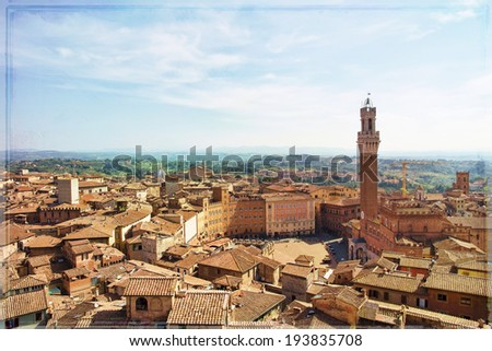 Campo Square with Mangia Tower, Siena, Italy - stock photo