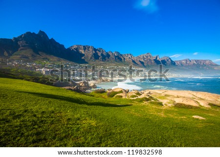 Camps Bay and hillside, Cape Town, South Africa - stock photo