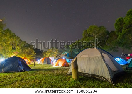 Campsite at Night - stock photo