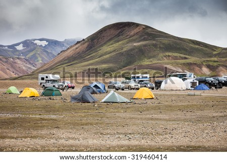 Campsite with tents in Landmannalaugar, Iceland, Europe - stock photo