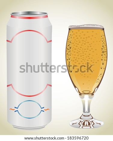 can and beer glass - stock photo