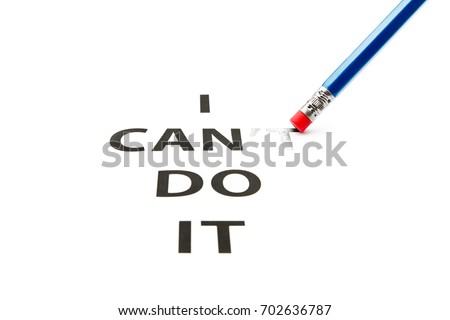 Can do it. Concept of self belief, motivation and positive attitude. I can do it is written on white paper. Challenge concept.