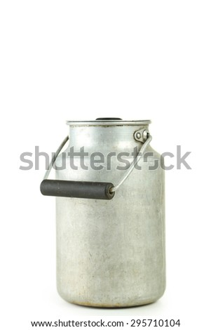 Can for milk isolated on white - stock photo