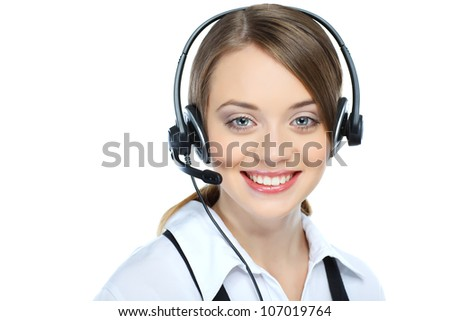 Can I help you ? Closeup of a female customer service representative - stock photo