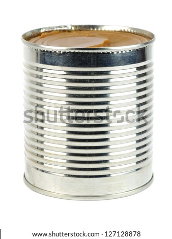 can of caramelized condensed milk on white background - stock photo