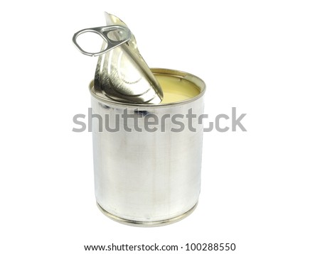 can of condensed milk on white background - stock photo
