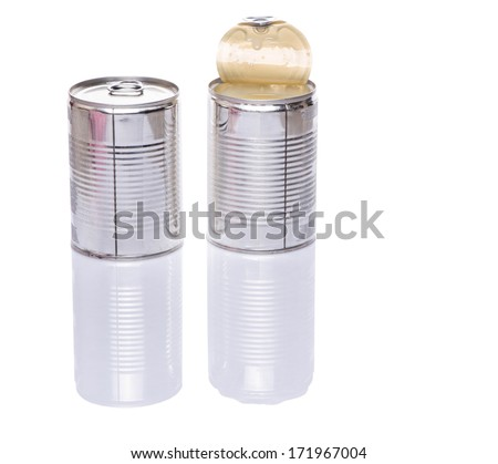 Can of condensed milk over white background - stock photo