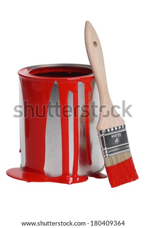 Can of red paint and paintbrush cut out, isolated on white background - stock photo