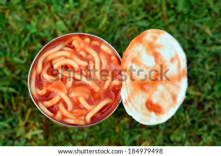 Can of spaghetti on green grass background. Concept photo of food, preserved,outdoor, camping, survival,surviving,prepared, poor, packed, crowded. - stock photo