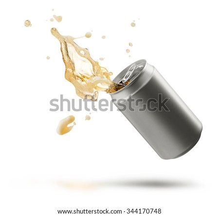 can of splashing beer isolated on white - stock photo
