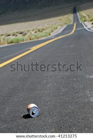 can on a road - stock photo