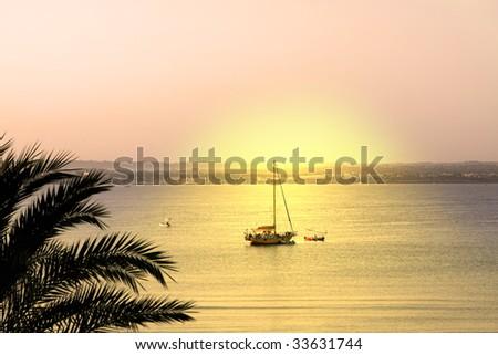 can pastilla beach at the spanish island Mallorca - stock photo