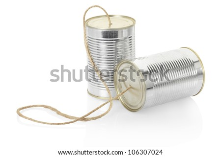 Can phone isolated on white, clipping path included - stock photo