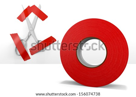 Can't Cut Through the Red Tape Scissors held captive against a white wall by tape. - stock photo