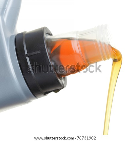 Can with car engine oil isolated on white - stock photo