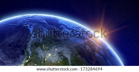 Canada and Arctic. Elements of this image furnished by NASA - stock photo