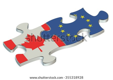 Canada and European Union puzzles from flags - stock photo