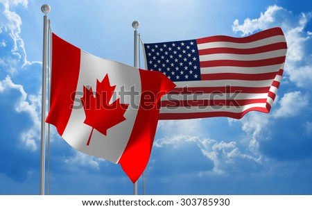 Canada and United States flags flying together for diplomatic talks - stock photo