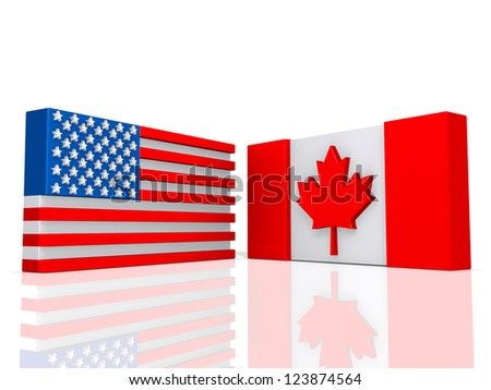 Canada and United States of America Flags on a shiny white background. - stock photo