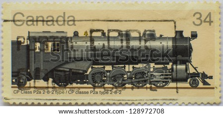 CANADA - CIRCA 1980: A stamp printed at Canada shows a train CP Class P2a 2-8-2 type, circa 1980 - stock photo