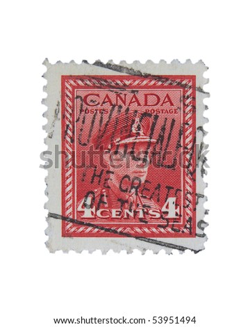 CANADA - CIRCA 1950: A stamp printed in Canada showing king George VI. circa 1950