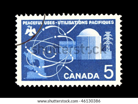 CANADA - CIRCA 1980: A stamp printed in Canada showing nuclear energy circa 1980