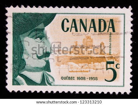 CANADA - CIRCA 1958: A stamp printed in Canada shows a french explorer and diplomat who found Quebec, circa 1958.