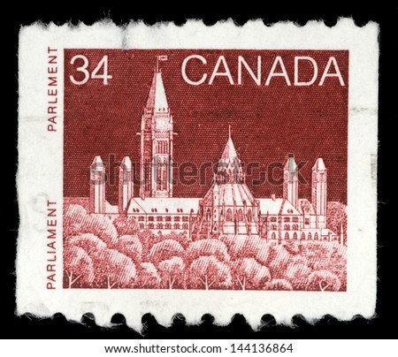 CANADA - CIRCA 1985: A stamp printed in Canada shows a Parliament (Library) in Ottawa, Ontario, series, circa 1985