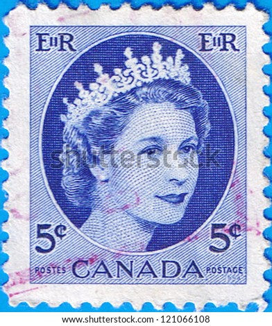 CANADA - CIRCA 1954: A stamp printed in Canada shows a portrait of Queen Elizabeth II, circa 1954 - stock photo