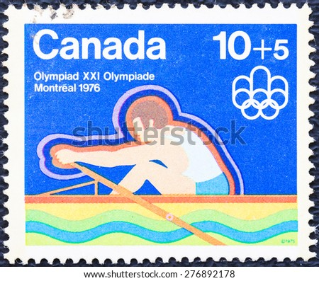 CANADA - CIRCA 1976 : a stamp printed in Canada shows Canada semi-postal stamp from the Water Sports set. XXI Olympiad Montreal, circa  1976. - stock photo