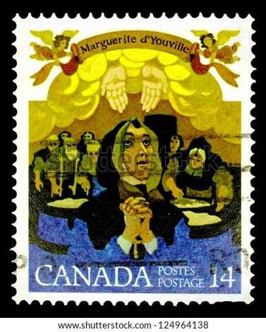 "CANADA - CIRCA 1978: a stamp printed in Canada shows Marguerite d'Youville, with the same inscriptions, from the series ""Marguerite d'Youville (founder of Grey Nuns) Commemoration"", circa 1978"