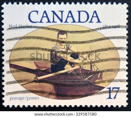CANADA - CIRCA 1980: A stamp printed in Canada shows Ned Hanlan, circa 1980 - stock photo
