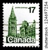 "CANADA - CIRCA 1977: A stamp printed in Canada shows Parliament Building, Ottawa, without inscriptions, from the series ""Parliament, Ottawa"", circa 1977 - stock photo"