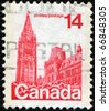 CANADA - CIRCA 1977: A stamp printed in Canada shows Parliament Buildings, circa 1977 - stock photo