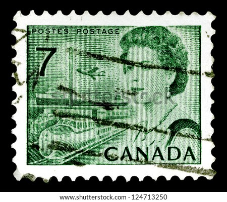 "CANADA - CIRCA 1971: A stamp printed in Canada shows Portrait of Queen Elizabeth II and Transportation means, without inscriptions, from the series ""Canada�s centenary as a nation"", circa 1971"