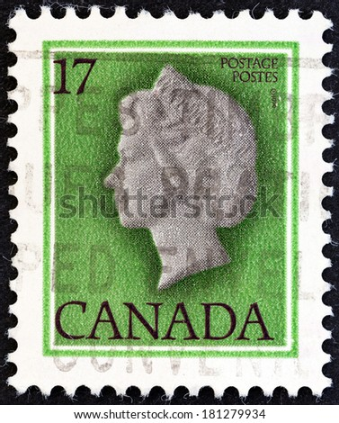 CANADA - CIRCA 1979: A stamp printed in Canada shows Queen Elizabeth II, circa 1979. - stock photo