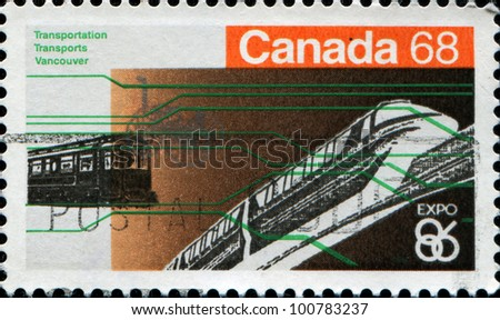 CANADA - CIRCA 1986: A stamp printed in Canada shows railway transport, circa 1986