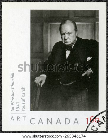 CANADA - CIRCA 2008: A stamp printed in Canada shows Sir Winston Churchill (1874-1965), portrait  photographer by Yousuf Karsh, 1941, circa 2008 - stock photo