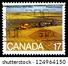 "CANADA - CIRCA 1980: A stamp printed in Canada shows Wheat Fields, inscriptions ""Saskatchewan, 1905 - 1980"", series ""75th anniversary of Saskatchewans and Albertas creation as Provinces"", circa 1980 - stock photo"