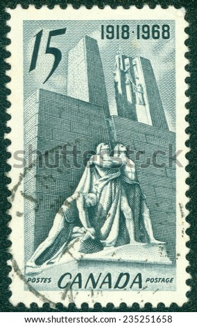 CANADA - CIRCA 1968: a stamp printed in the Canada shows Canadian National Memorial near Vimy, France, The Defenders and the Breaking of the Sword, circa 1968 - stock photo