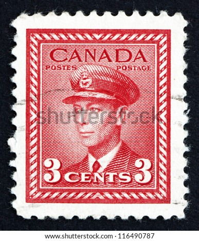 CANADA - CIRCA 1942 a stamp printed in the Canada shows King George VI, King of England, circa 1942