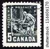 CANADA - CIRCA 1957: a stamp printed in the Canada shows Miner with Pneumatic Drill, 6th Commonwealth Mining and Metallurgical Congress, Vancouver, circa 1957 - stock photo