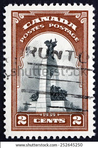 CANADA - CIRCA 1939: a stamp printed in the Canada shows War Memorial, Ottawa, Originally built to Commemorate the Canadians who Died in the First World War, circa 1939 - stock photo